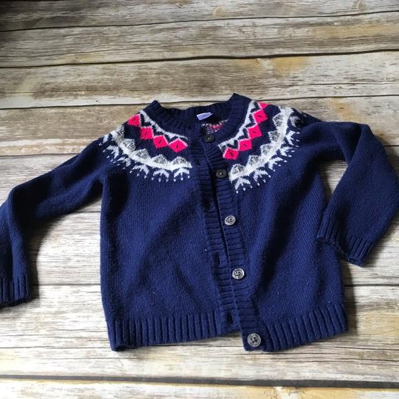Toddler Girls Carters Fair Isle Cardiga Sweater Navy Blue Size 2T